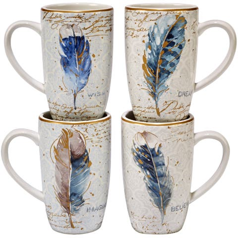 Certified International Indigold Assorted Designs Feathers Mugs (Pack of 4)