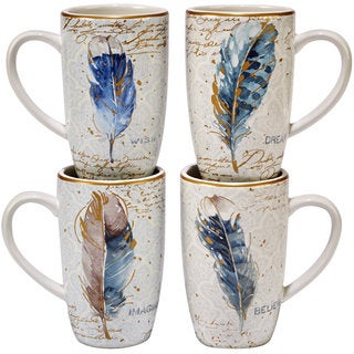 Certified International Indigold Ceramic 16-ounce Assorted Designs Feathers Mugs (Pack of 4)|https://ak1.ostkcdn.com/images/products/14326763/P20906199.jpg?_ostk_perf_=percv&impolicy=medium