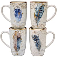 Certified International Indigold Ceramic 16-ounce Assorted Designs Feathers Mugs (Pack of 4)