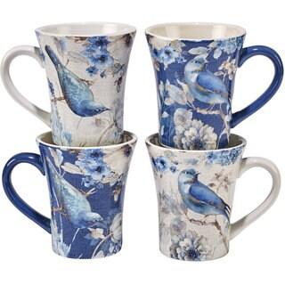 Certified International Indigold 15 oz. Bird Mugs, Set of 4, 2 Assorted Designs
