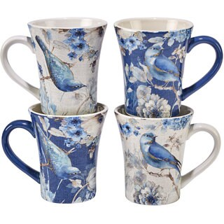Certified International Indigold 15 oz. Bird Mugs, Set of 4, 2 Assorted Designs