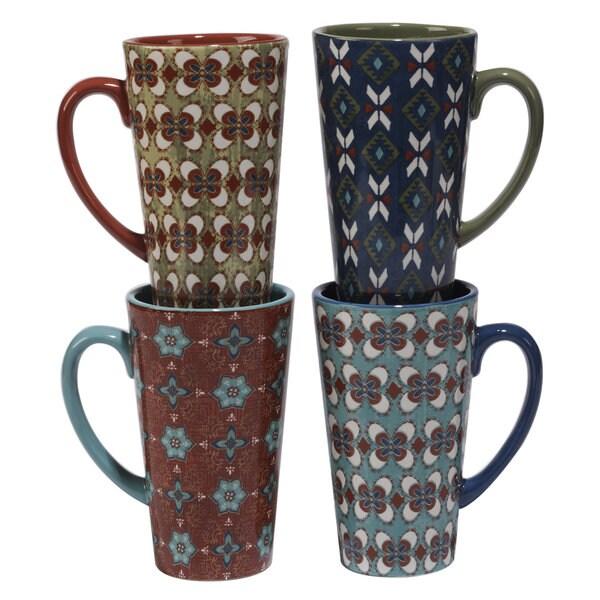 Certified International Veronique Charron Monterrey Ceramic 16-ounce Assorted Designs Latte Mugs (Set of 4)
