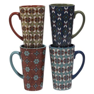 Certified International Veronique Charron Monterrey Ceramic 16-ounce Assorted Designs Latte Mugs (Set of 4)