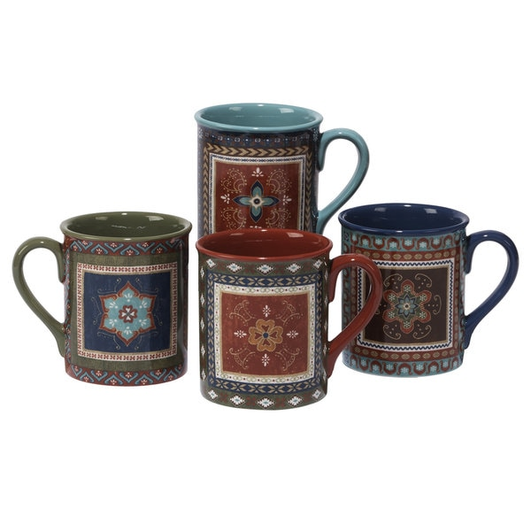 Certified International Monterrey 16-ounce Assorted Design Mugs (Pack of 4)