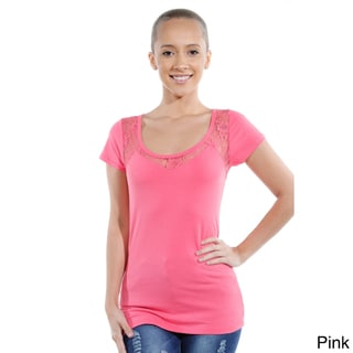 Women's Cotton Spandex Round Neck Lace Touch Casual Top
