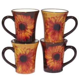 Certified International Gerber Daisy Ceramic 15-ounce Mugs (Set of 4)