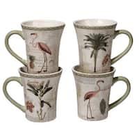 Certified International Floridian Ceramic Assorted Designs Mugs (Pack of 4)