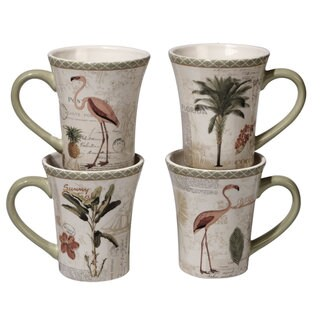 Certified International Floridian Ceramic Assorted Designs Mugs (Pack of 4)