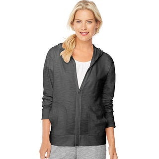Hanes Women's Cotton-blend Jersey Slub Full-zip Hoodie