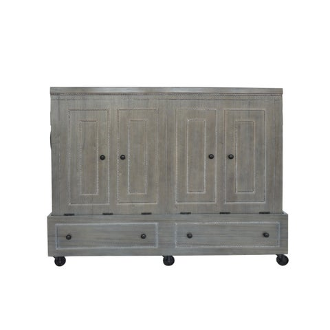 Queen Size Mobile Murphy Bed in Dove Wash Grey Finish