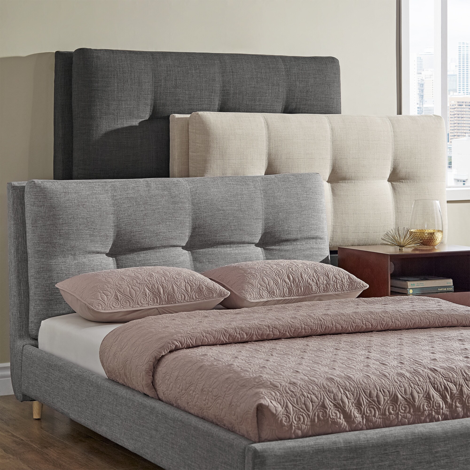 Dallan Plush Tufted Padded Headboard and Bed by iNSPIRE Q...