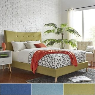 Azura Queen Size Button Tufted Linen Fabric Headboard Bed iNSPIRE Q Modern