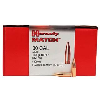 """Hornady 30 Caliber Bullets .308"""" 168 Gr BTHP Match (Per 500)"""