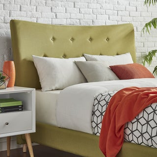 Azura Full Size Button Tufted Linen Fabric Headboard Bed by MID-CENTURY LIVING