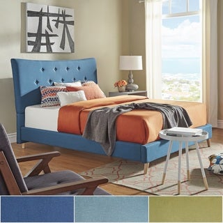 Azura Button Tufted Linen Fabric Bed by iNSPIRE Q Modern (More options available)