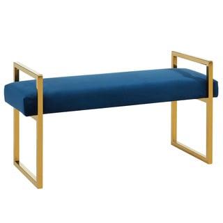 Paxon Blue Velvet Double Bench
