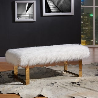 Angelica Tufted White/ Gold-tone Faux Fur Bench