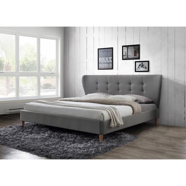 9494525e11cf Shop Dayton Tufted Light Grey Upholstered King Platform Bed - Free ...