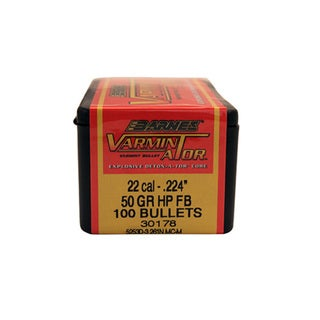 Barnes Bullets VARMIN-A-TOR 22 Caliber, 50 Gr Hollow Point Flat Base, Per 100