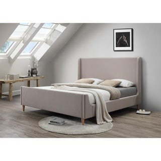 Bedford Beige Upholstered King Platform Bed