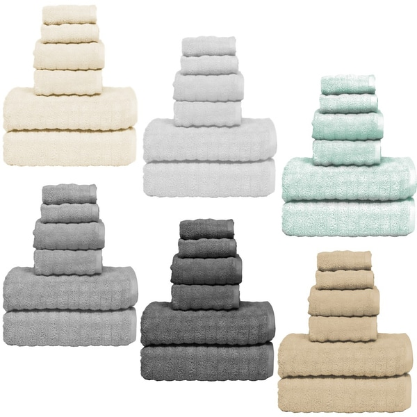Home Dynamix Micro Lush Woven Wave 6 Piece Cotton Towel Set