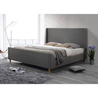 Bedford Light Grey Upholstered King Platform Bed