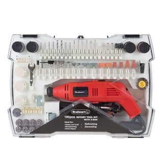 Corded Rotary Tool and Accessories Kit  190 Piece Multifunction Attachment Carry Case by Stalwart