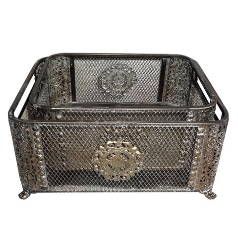 Ornate Silver Basket (Set of 2)
