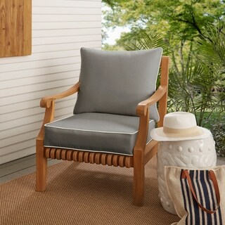 Sawyer Sunbrella Canvas Charcoal with Canvas Cording Indoor/ Outdoor Chair Cushion and Pillow Set