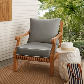 Sunbrella Charcoal Grey with Ivory Indoor/ Outdoor Chair Cushion and Pillow Set, Corded