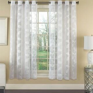 Avery Semi-sheer Faux Linen Grommet Window Curtain Panel - 63x53