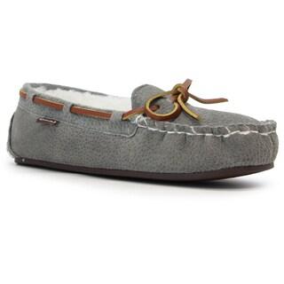 Lamo Women's Britain Moc II Grey Suede and Faux Fur Slip-on Shoes
