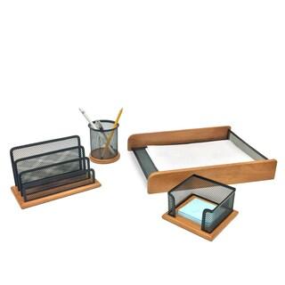 Mind Reader 'Exec' Wood Desktop Organizer Collection (Set of 4)