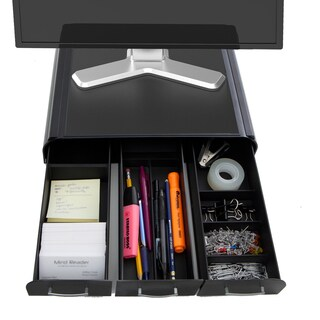 Mind Reader 'Perch' Black Plastic PC/ Laptop/ iMac Monitor Stand and Desk Organizer