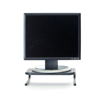 Mind Reader Collar Black Metal Monitor Stand with Keyboard Storage Space