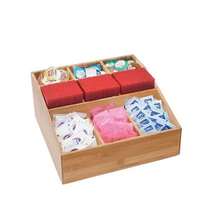 Mind Reader Bamboo Square 9-compartment Condiment Organizer