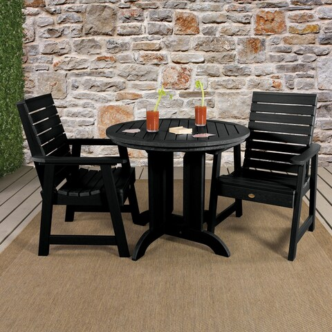 Highwood Eco-friendly Weatherly 3pc Round Outdoor Dining Set