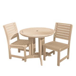 Highwood Eco-friendly Weatherly 3pc Round Outdoor Dining Set (Option: Tuscan Taupe)