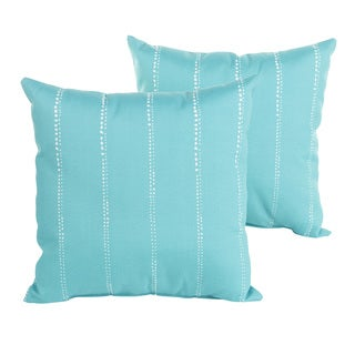 Perry Aqua Dotted Stripes 18 inch Indoor/ Outdoor Pillow