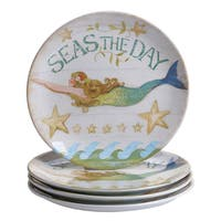 Certified International Sea Beauty Multicolor Ceramic Dinner Plates (Pack of 4)