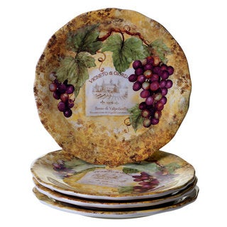 Certified International Gilded Wine Ceramic 10.75-inch Dinner Plates (Set of 4)