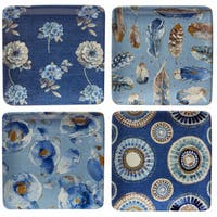 Certified International Indigold 6-inch Canape Plates, Set of 4 with Assorted Designs