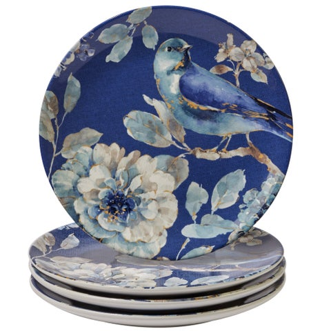 Certified International Bird-themed Blue Ceramic 9-inch Indigold Salad/Dessert Plates (Set of 4)