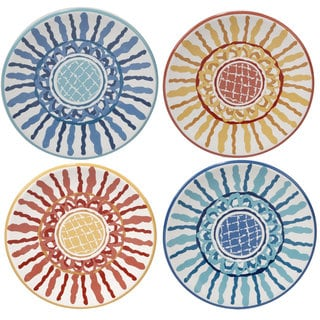 Certified International Joyce Shelton San Marino Ceramic 6.25-inch Assorted Designs Canape Plates (Set of 4)