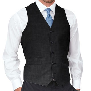 Affinity Apparel Men's Solid-colored Five-button Vest (Option: Black)