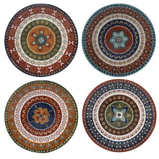 Certified International Monterrey Multicolored Ceramic 11.25-inch Dinner Plates (Set of 4 in Varying  sc 1 st  Overstock.com & Geometric Plates For Less | Overstock.com