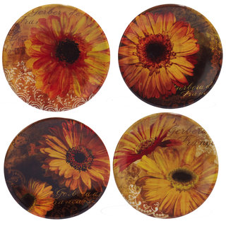 Certified International Gerber Daisy Yellow/Orange Ceramic 6-inch Canape Plates (Set of 4)