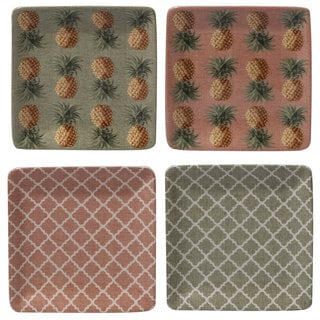 Certified International Floridian Assorted Design Ceramic 6-inch Canape Plates (Set of 4)