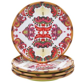 Tracy Porter for Poetic Wanderlust 'Imperial Bengal' Red/White Earthenware 10.5-inch Dinner Plates (Set of 4)