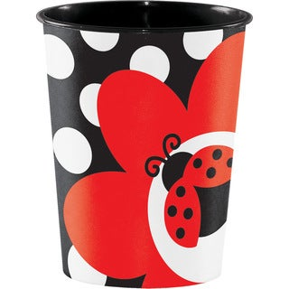 Ladybug Fancy Keepsake Plastic 16-ounce Cups (12 Packages of 8)